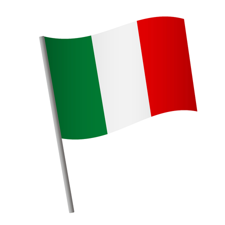 Italy flag icon. National flag of Italy on a pole vector illustration. Illustration
