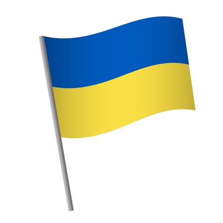 Ukraine flag icon. National flag of Ukraine on a pole vector illustration.