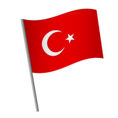 Turkey flag icon. National flag of Turkey on a pole illustration.
