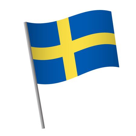 Sweden flag icon. National flag of Sweden on a pole vector illustration.