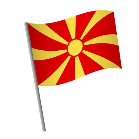Macedonia flag icon. National flag of Macedonia on a pole vector illustration.