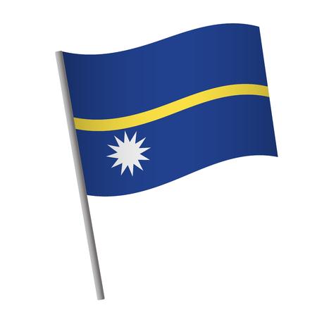 Nauru flag icon. National flag of Nauru on a pole vector illustration.