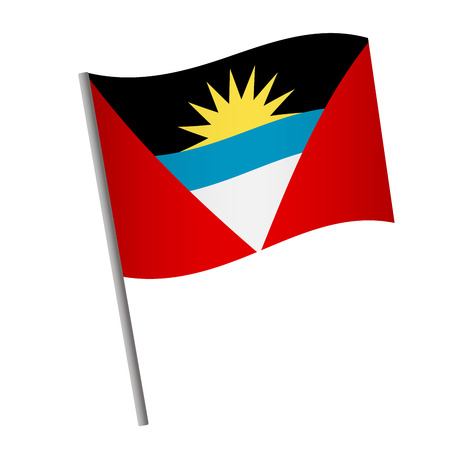 Antigua and Barbuda flag icon. National flag of Antigua and Barbuda on a pole vector illustration.