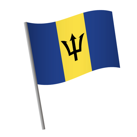 Barbados flag icon. National flag of Barbados on a pole vector illustration. Illustration
