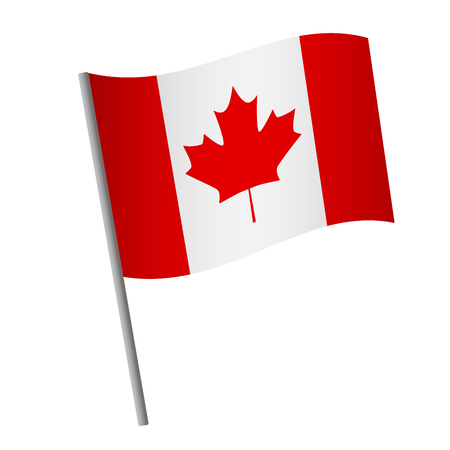 Canada flag icon. National flag of Canada on a pole vector illustration.