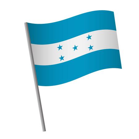 Honduras flag icon. National flag of Honduras on a pole vector illustration. Illustration