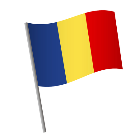 Romania flag icon. National flag of Romania on a pole  illustration. Banque d'images - 115702060