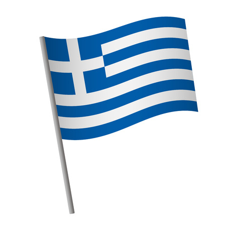 Greece flag icon. National flag of Greece on a pole  illustration.