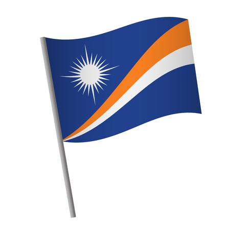 Marshall Islands flag icon. National flag of Marshall Islands on a pole  illustration.