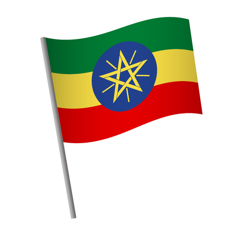 Ethiopia flag icon. National flag of Ethiopia on a pole vector illustration.