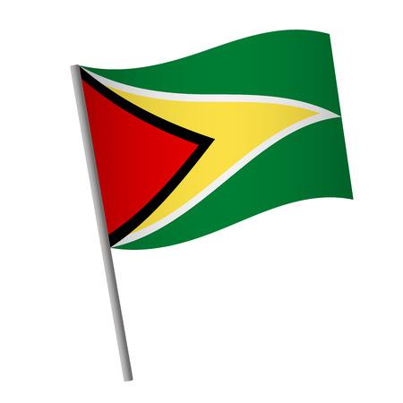 Guyana flag icon. National flag of Guyana on a pole vector illustration. Illustration