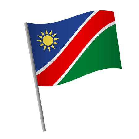 Namibia flag icon. National flag of Namibia on a pole vector illustration.