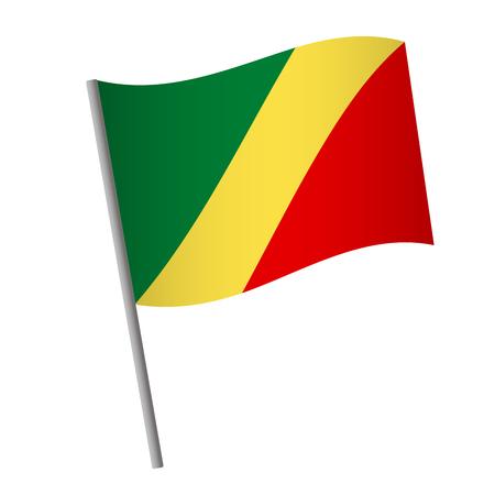 Republic of the Congo flag icon. National flag of Republic of the Congo on a pole vector illustration. Standard-Bild - 115313328