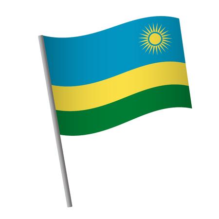 Rwanda flag icon. National flag of Rwanda on a pole vector illustration. Illustration
