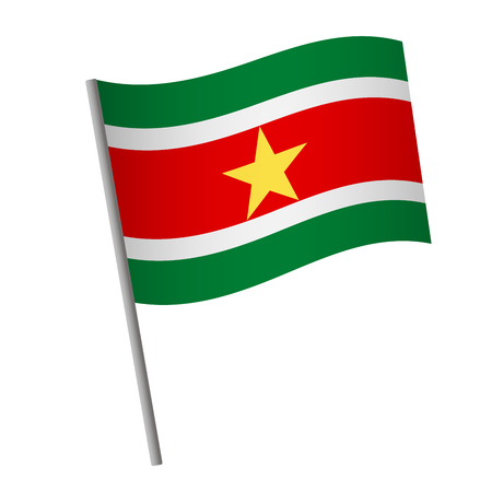 Suriname flag icon. National flag of Suriname on a pole vector illustration.