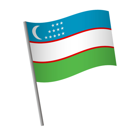 Uzbekistan flag icon. National flag of Uzbekistan on a pole vector illustration.