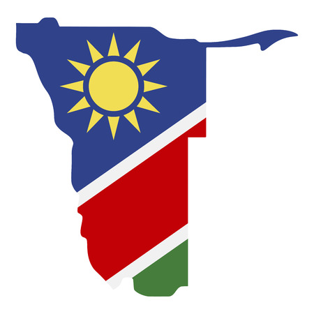 map of Namibia with flag inside. Namibia map vector illustration