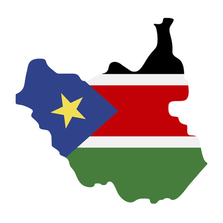 map of South Sudan with flag inside. South Sudan map vector illustration Vetores