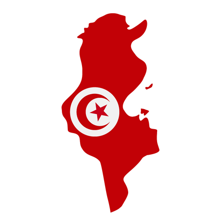 map of Tunisia with flag inside. Tunisia map vector illustration