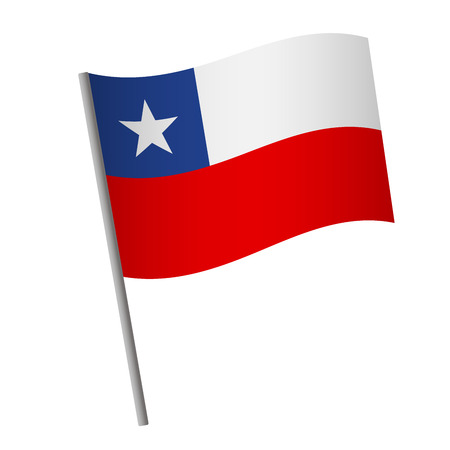 Chile flag icon. National flag of Chile on a pole  illustration. Stockfoto