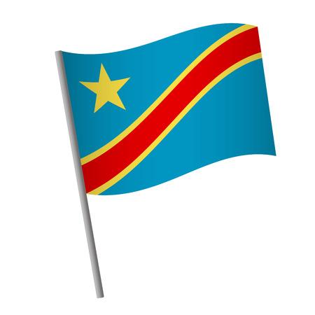 Democratic Republic of the Congo flag icon. National flag of Democratic Republic of the Congo on a pole  illustration. Standard-Bild - 115702320
