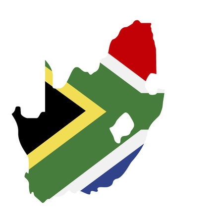 map of South Africa with flag inside. South Africa map  illustration