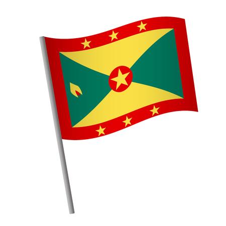 Grenada flag icon. National flag of Grenada on a pole  illustration. Stock Photo