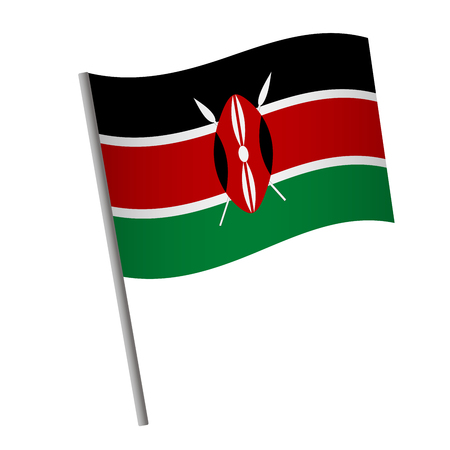 Kenya flag icon. National flag of Kenya on a pole illustration.