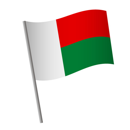 Madagascar flag icon. National flag of Madagascar on a pole  illustration. 스톡 콘텐츠