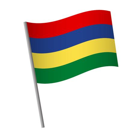 Mauritius flag icon. National flag of Mauritius on a pole  illustration.