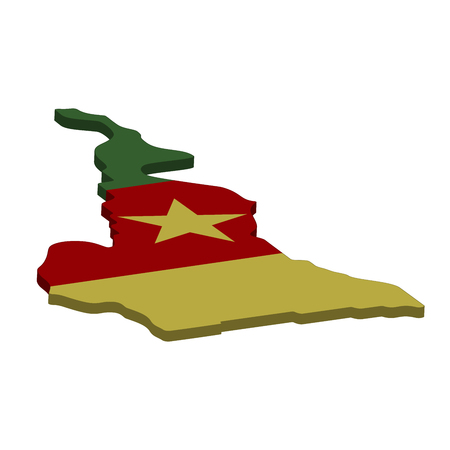 Flag and map of Cameroon. Color silhouette of 3D map of Cameroon vector illustration