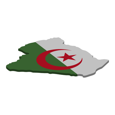 Flag and map of Algeria. Color silhouette of 3D map of Algeria vector illustration