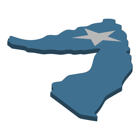 Flag and map of Somalia. Color silhouette of 3D map of Somalia vector illustration