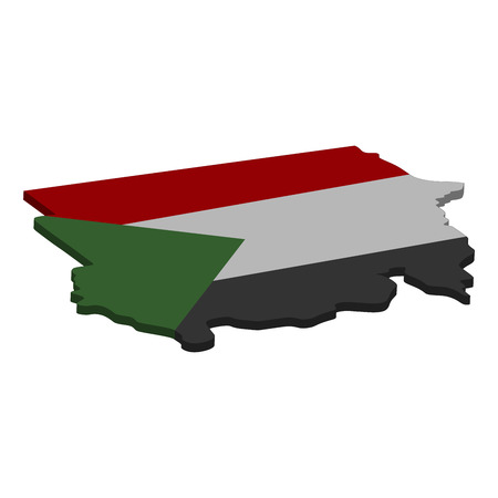 Flag and map of Sudan. Color silhouette of 3D map of Sudan vector illustration Illustration