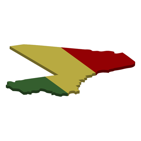 Flag and map of Mali. Color silhouette of 3D map of Mali vector illustration Illustration