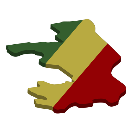 Flag and map of Congo. Color silhouette of 3D map of Congo vector illustration Standard-Bild - 126078524