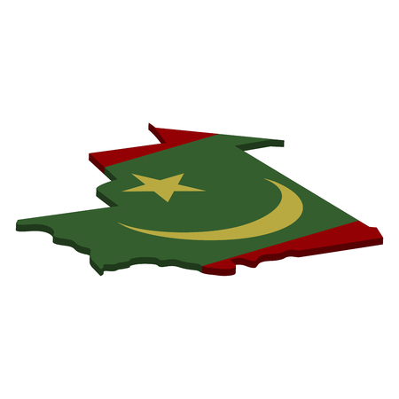 Flag and map of Mauritania. Color silhouette of 3D map of Mauritania  illustration