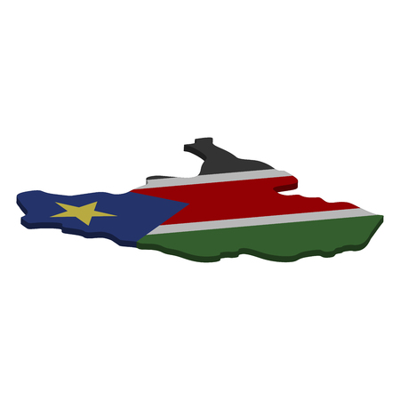 Flag and map of South Sudan. Color silhouette of 3D map of South Sudan  illustration Stockfoto