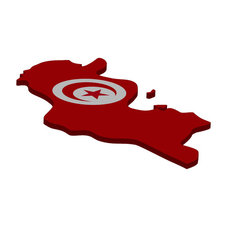Flag and map of Tunisia. Color silhouette of 3D map of Tunisia  illustration