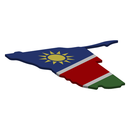 Flag and map of Namibia. Color silhouette of 3D map of Namibia  illustration