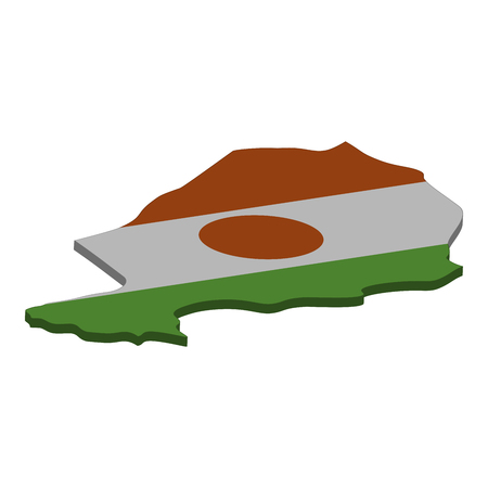 Flag and map of Niger. Color silhouette of 3D map of Niger  illustration