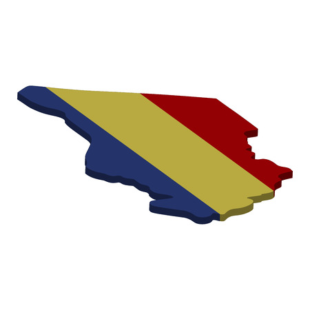 Flag and map of Chad. Color silhouette of 3D map of Chad  illustration