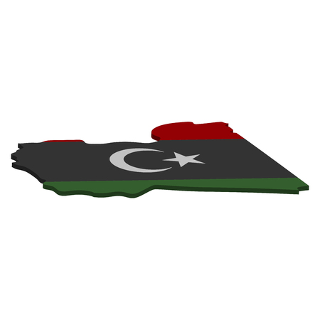 Flag and map of Libya. Color silhouette of 3D map of Libya  illustration