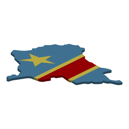 Flag and map of Democratic Republic of the Congo. Color silhouette of 3D map of Democratic Republic of the Congo  illustration Standard-Bild - 115702486