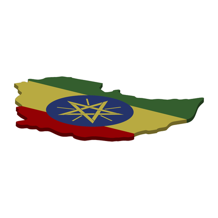 Flag and map of Ethiopia. Color silhouette of 3D map of Ethiopia  illustration Stockfoto