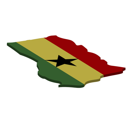 Flag and map of Ghana. Color silhouette of 3D map of Ghana  illustration