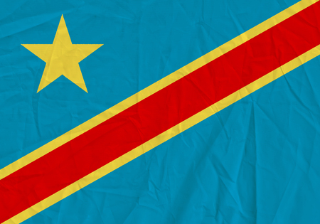 Democratic Republic of the Congo grunge flag. Patriotic background. National flag of Democratic Republic of the Congo 写真素材