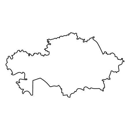 Map of Kazakhstan - outline. Silhouette of Kazakhstan map vector illustration