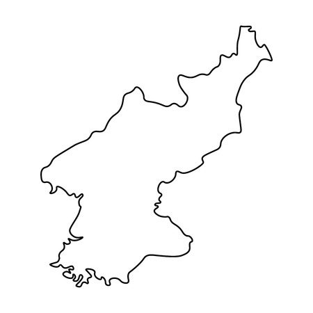 Map of North Korea - outline. Silhouette of North Korea map vector illustration Illustration