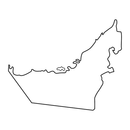 Map of United Arab Emirates - outline. Silhouette of United Arab Emirates map vector illustration